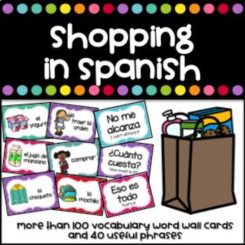 De compras, la ropa, la comida, útiles escolares y el restaurante - Word wall