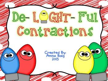 De-LIGHT-ful Contractions Activity Bundle (center, writing, practice)