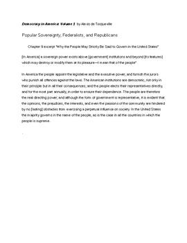 De Tocqueville: Popular Sovereignty, Federalists, & Republicans