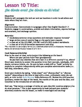 ¿De dónde eres?/ es él/ella? Spanish Complete LP, Worksheets & Assessment