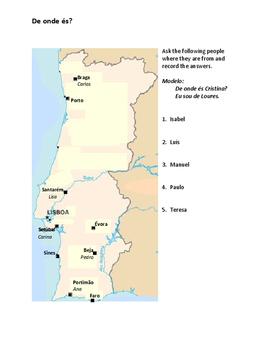 De onde és Portuguese Partner Speaking activity