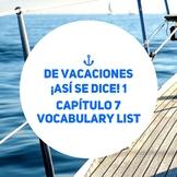 De vacaciones, Spanish Vacation Vocabulary. ¡Así se dice! 1 Capítulo 7