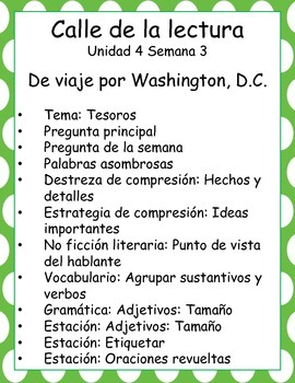 De viaje por Washington, D.C. -Calle de la lectura- Unit 4 Week 3