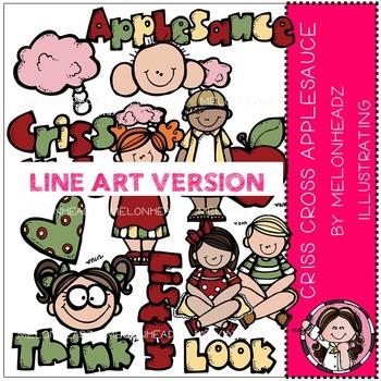 Melonheadz: Crisscross clip art - LINE ART