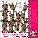 Rockin Reindeer clip art - BLACK AND WHITE- by Melonheadz