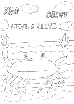Dead, Alive, Never Lived: Ocean Theme: Crab Worksheet to Colour In