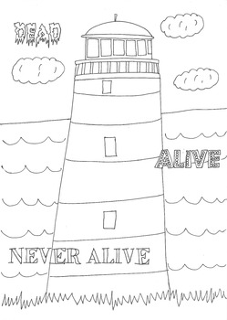 Dead, Alive, Never Lived: Ocean Theme: Lighthouse Worksheet to Colour In