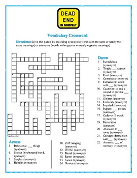 Dead End in Norvelt: Synonym/Antonym Vocabulary Crossword--Fun!