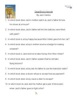 Dead End in Norvelt by Jack Gantos, Battle of the Books Questions