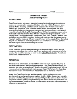 Dead Poet's Society Active Participation Guide