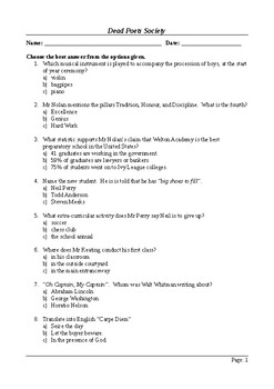 Dead Poets Society - 50 Question Multiple Choice Quiz