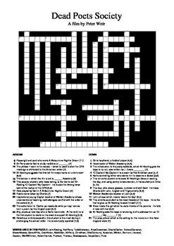 Dead Poets Society - Crossword Puzzle
