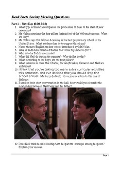 Dead Poets Society - Detailed Viewing Questions with Answers