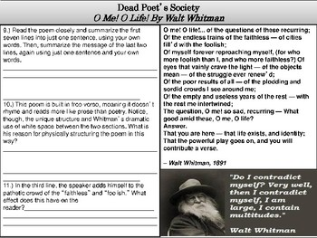 Dead Poet's Society Poetry Analysis