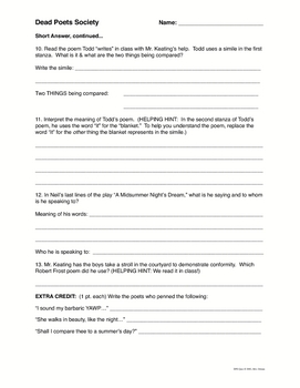 """Dead Poets Society"" Movie Poetry Quiz & Writing Activity Worksheet"