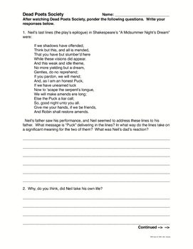 dead poets society questions for essay Dead poets society short answer test - answer key nh kleinbaum this set of lesson plans consists of approximately 121 pages of tests, essay questions, lessons, and other teaching materials.