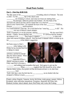 Dead Poets Society - Plot Summary as Cloze Test(s)
