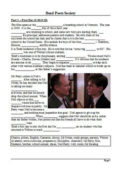 Dead Poets Society Study Guide - Active Learning Tasks Bundle