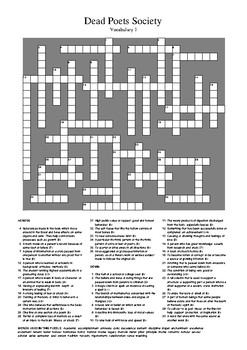 Dead Poets Society - Vocabulary Crossword 1 (UK Spelling)