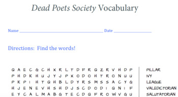 Dead Poets Society Vocabulary (WORD SEARCH)