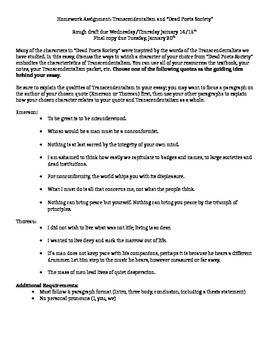Essay On High School Dropouts Dead Poets Society And Transcendentalism Essay Essays On Business Ethics also My Mother Essay In English Dead Poets Society And Transcendentalism Essay By Kayla Bevers  Tpt English Class Reflection Essay