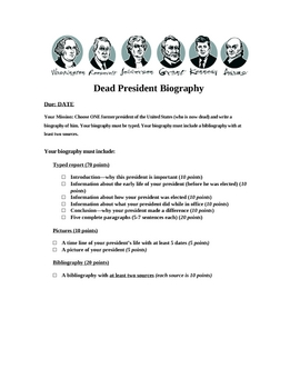 Dead President Reports (Biography)