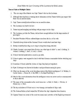 Dead Wake Reading Check Test/Quiz