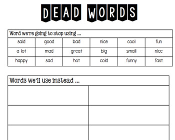 Dead Words Activity (Don't Use This Word, Use This Instead...)
