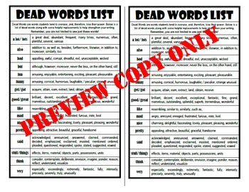 Dead Words List for Interactive Notebook