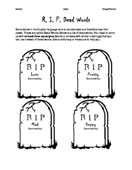 Dead Words Worksheet