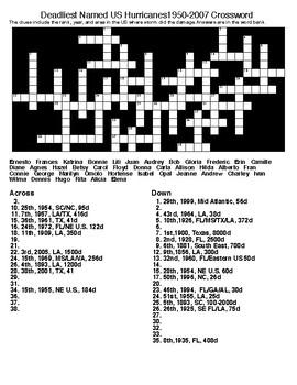 Deadliest Named US Hurricanes1950-2007 Crossword & Word Search