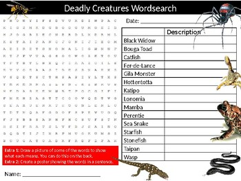 Deadly Creatures Wordsearch Puzzle Sheet Keywords Biology Animals