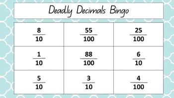 Deadly Decimals Bingo