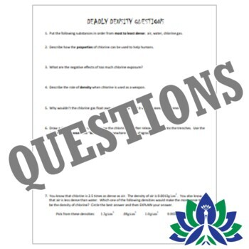 Deadly Density - High Interest Reading Activity w/Questions Worksheet MS-PS1-7