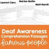Deaf Awareness Comprehension Passages: Famous People