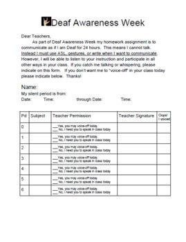 Deaf Awareness Week- Voice off 24 hours Homework