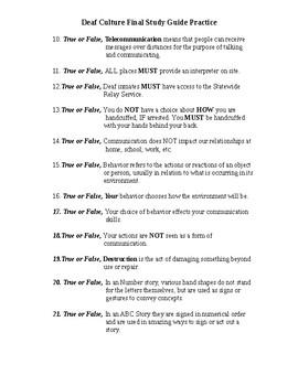 Deaf Culture Study Guide Practice