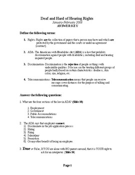 Deaf Rights PowerPoint Worksheet Answer Key