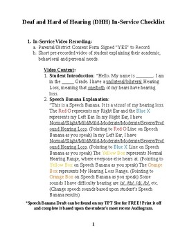 Deaf and Hard of Hearing (DHH) In-Service Checklist