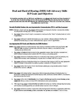 Deaf and Hard of Hearing (DHH) Self-Advocacy IEP Goals and Objectives