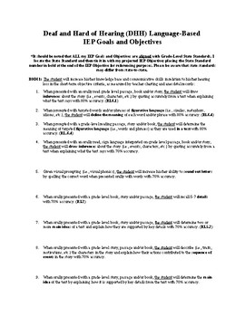 Deaf and Hard of Hearing Language-Based IEP Goals and Objectives