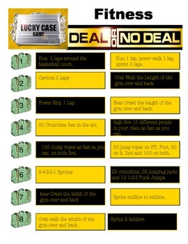 Physical Education - Deal or No Deal Fitness Activity