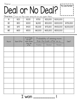 Deal or No Deal Recording Sheet : Probability Freebie!