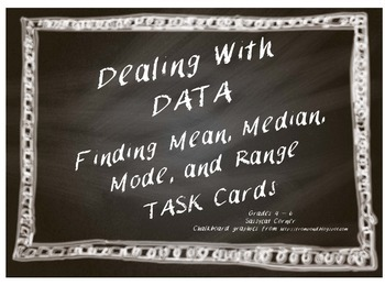 Dealing With Data - Mean, Median, Mode, and Range Task Cards