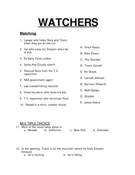 Dean Koontz's Watchers Test: Matching and Multiple Choice