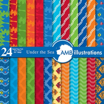 Digital Papers, Deap sea digital paper and backgrounds, AMB-404