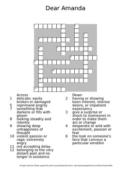 Dear Amanda by Linnah Gary Guided Reading Worksheet Crossword and Wordsearch