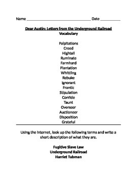 Dear Austin: Letters from the Underground Railroad Vocabulary and Test