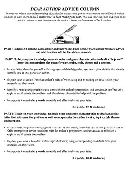 Author Research and Characterization Advice Column