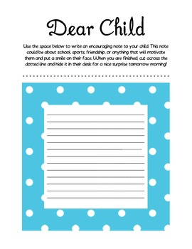 Dear Child: Write a Letter (Parent Teacher Conferences) by Mrs Parnell